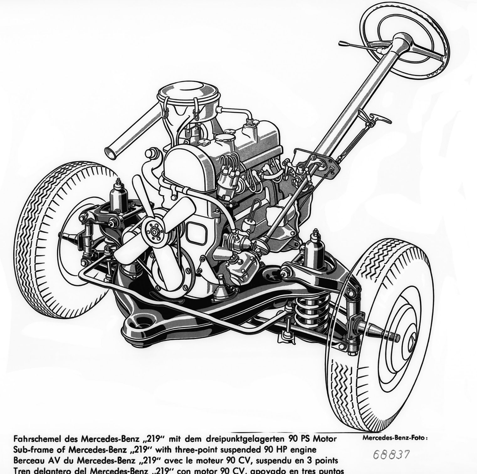Sub-frame of Mercedes-Benz 219 with 90HP engine M 180 II, © Daimler AG