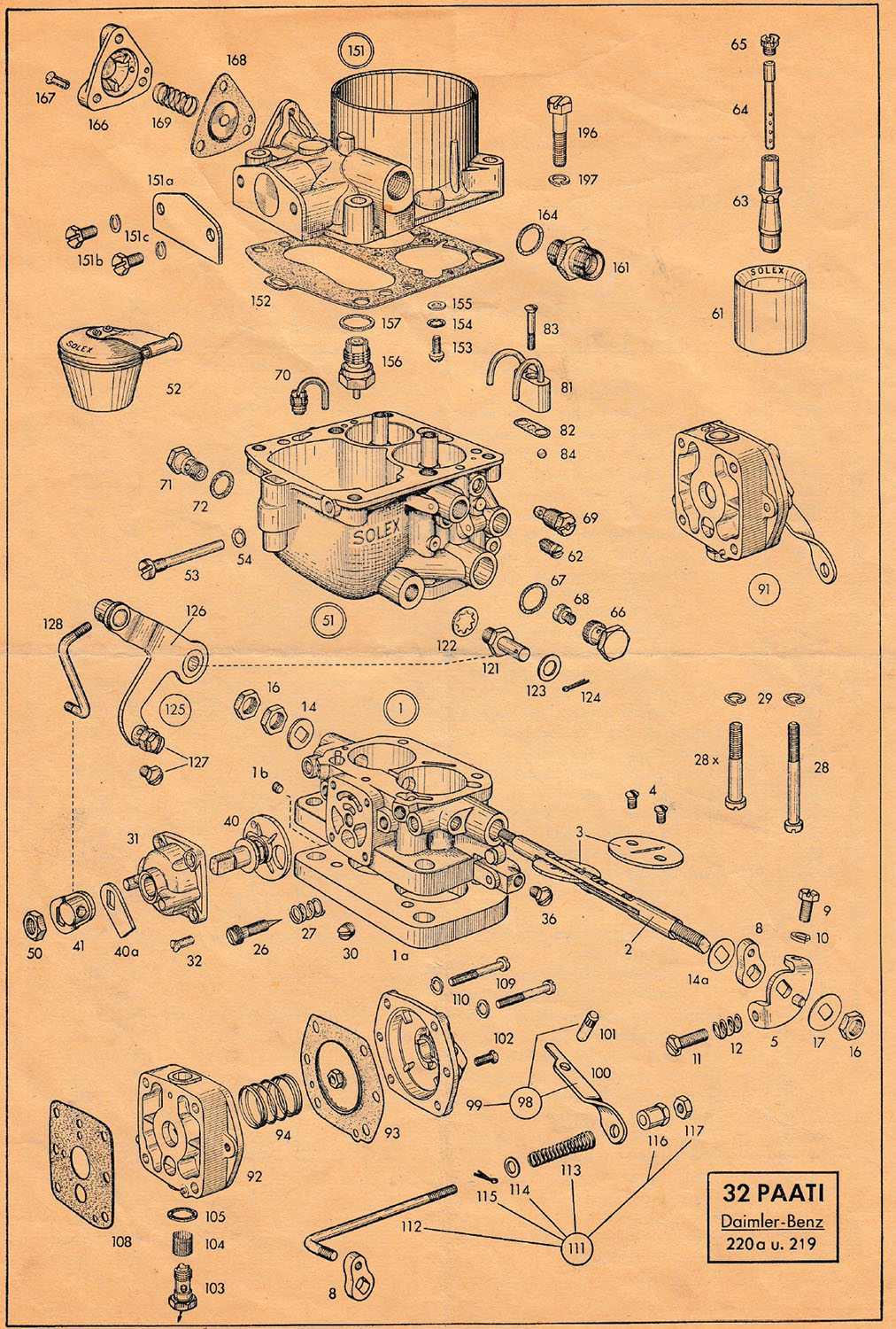 Parts list for the Solex 32 PAATI , carburetor for the M 180 II engine of a Mercedes type 219