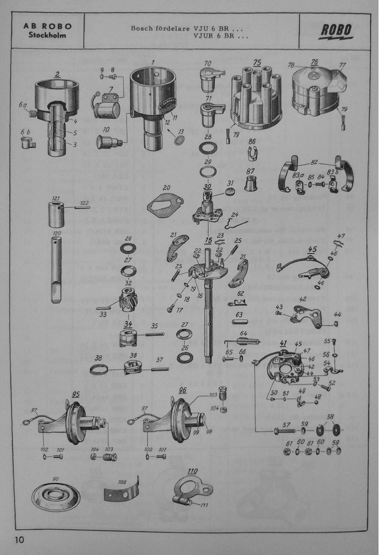 Swedish exploded-view drawing of Bosch distributor VJU R 6 BR with parts list