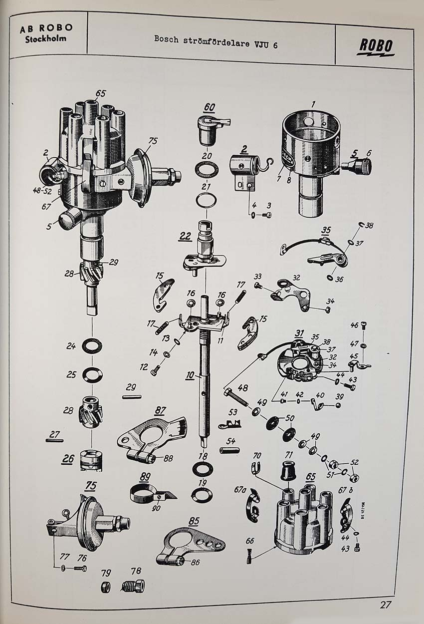 Swedish exploded-view drawing of Bosch distributor VJU R 6 AR with parts list