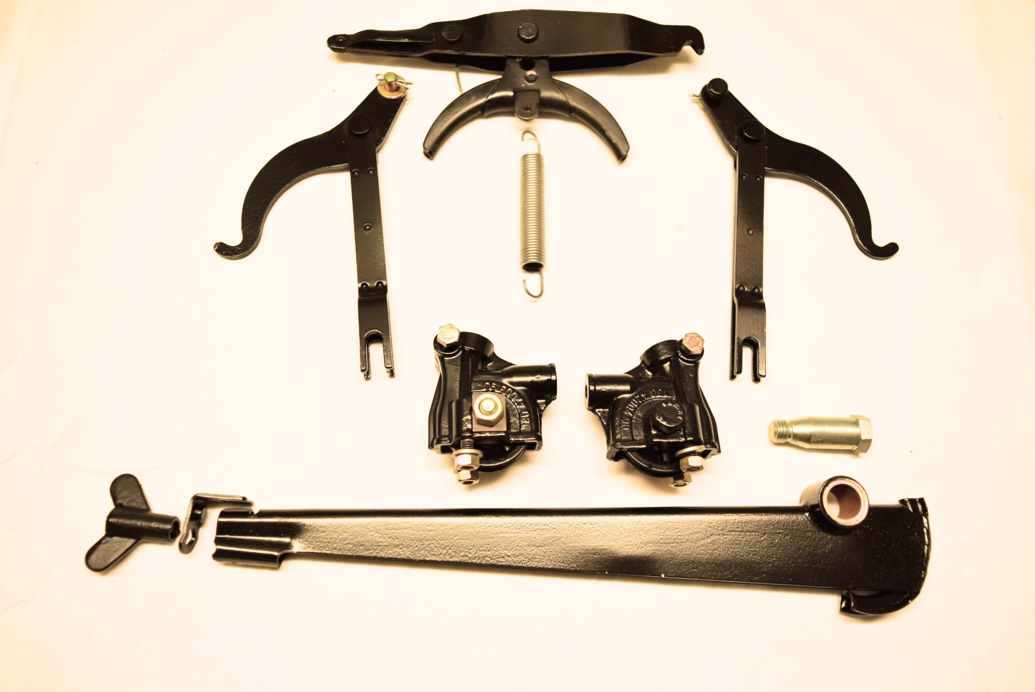 Restored brake levers, compensating lever and cable guide for a Mercedes 219 Ponton