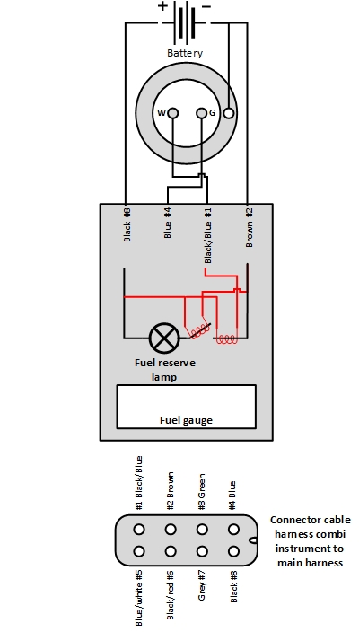 Electrical scheme of Mercedes Ponton fuel gauge and its fuel reserve lamp with the bi-metal contact