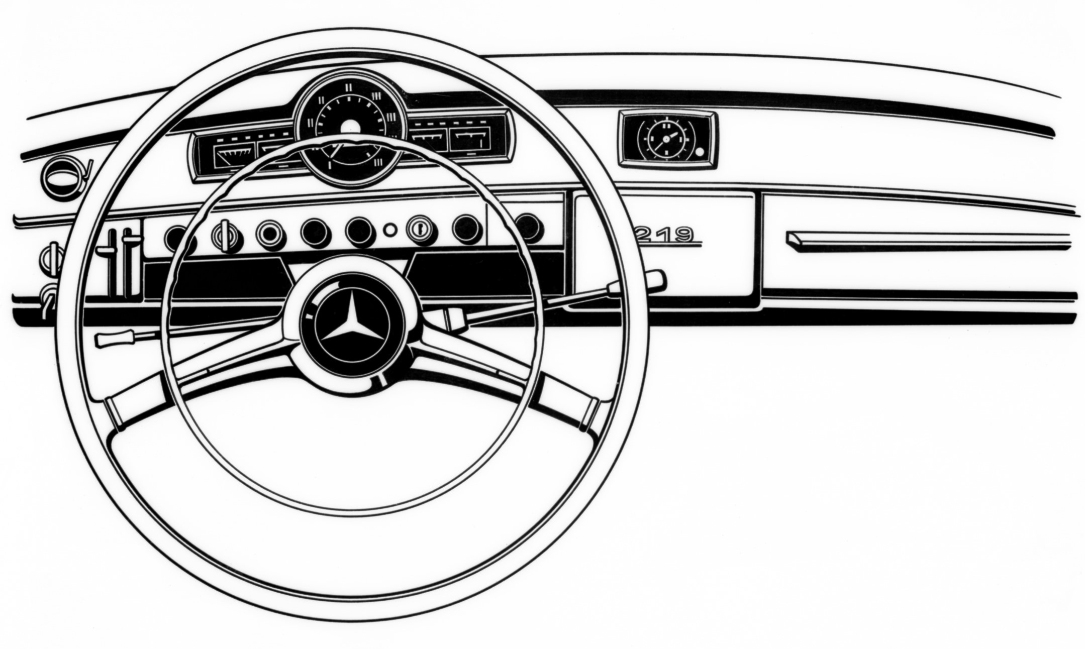 Drawing of MB 219 instrument panel, © Daimler AG