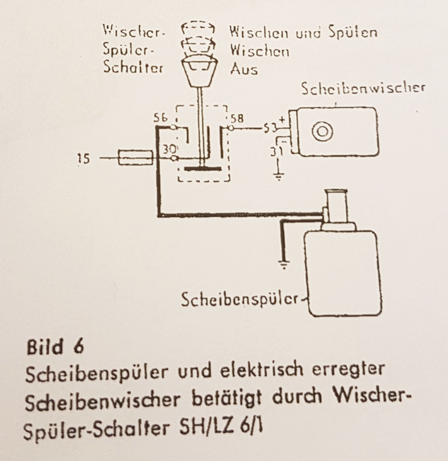 Schematic electrical diagram for Bosch SH/LZ 6/1, similar to my Mercedes-Benz Ponton switch