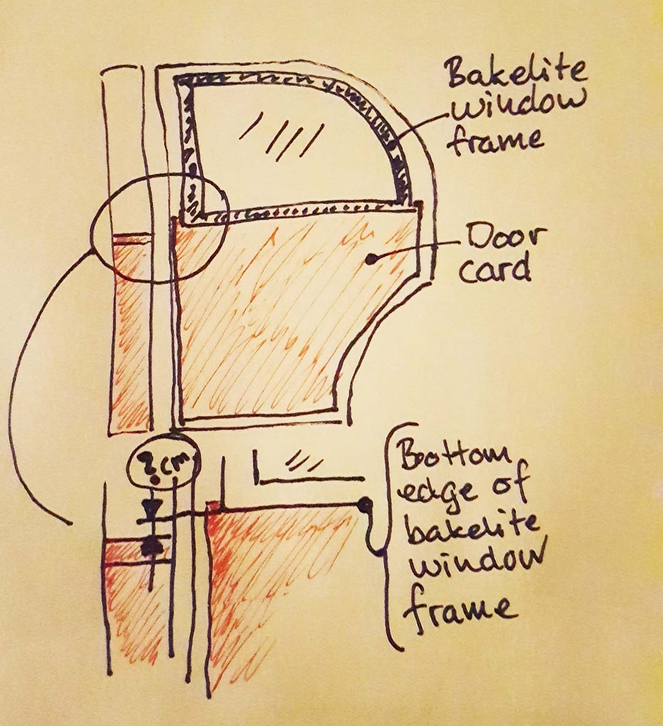 Another drawing showing the theory behind the gap between the cloth/leather joint and the bakelite window frame on a Mercedes Ponton