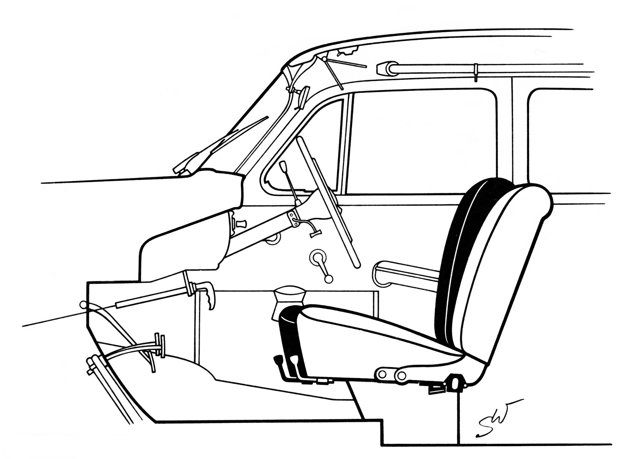 Drawing of Mercedes-Benz type 219 interior, © Daimler AG