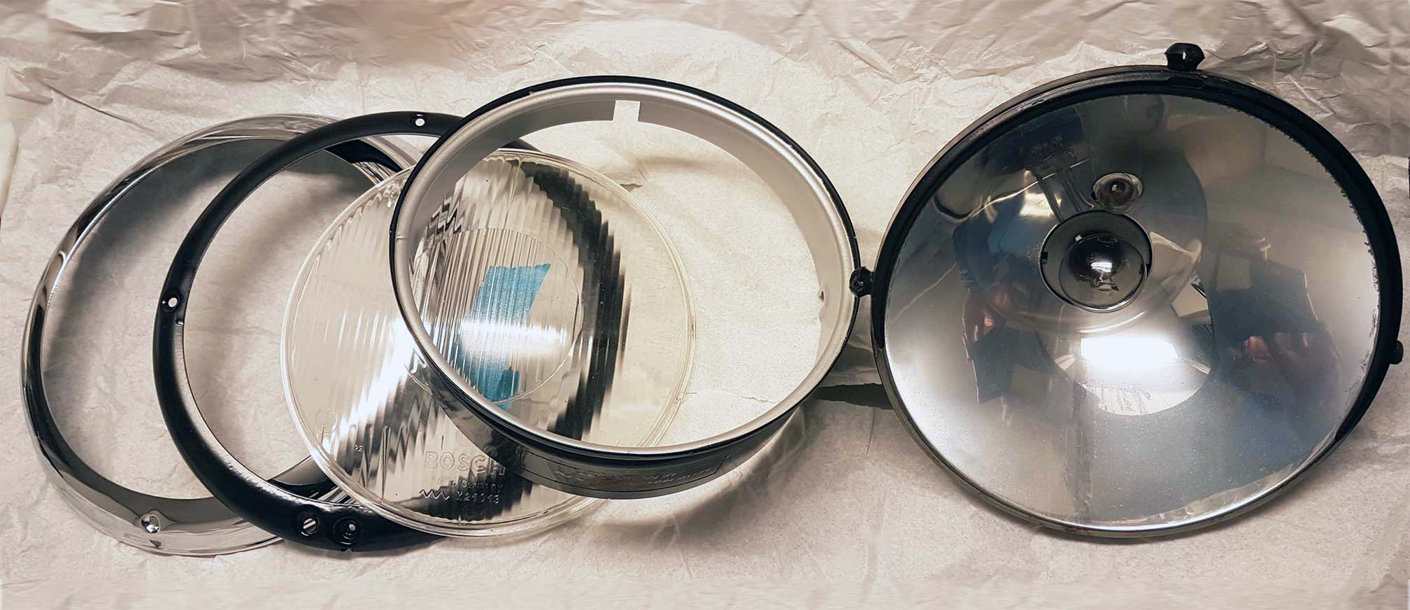 Partly restored Bosch headlights for a Mercedes-Benz Ponton model 219 -57