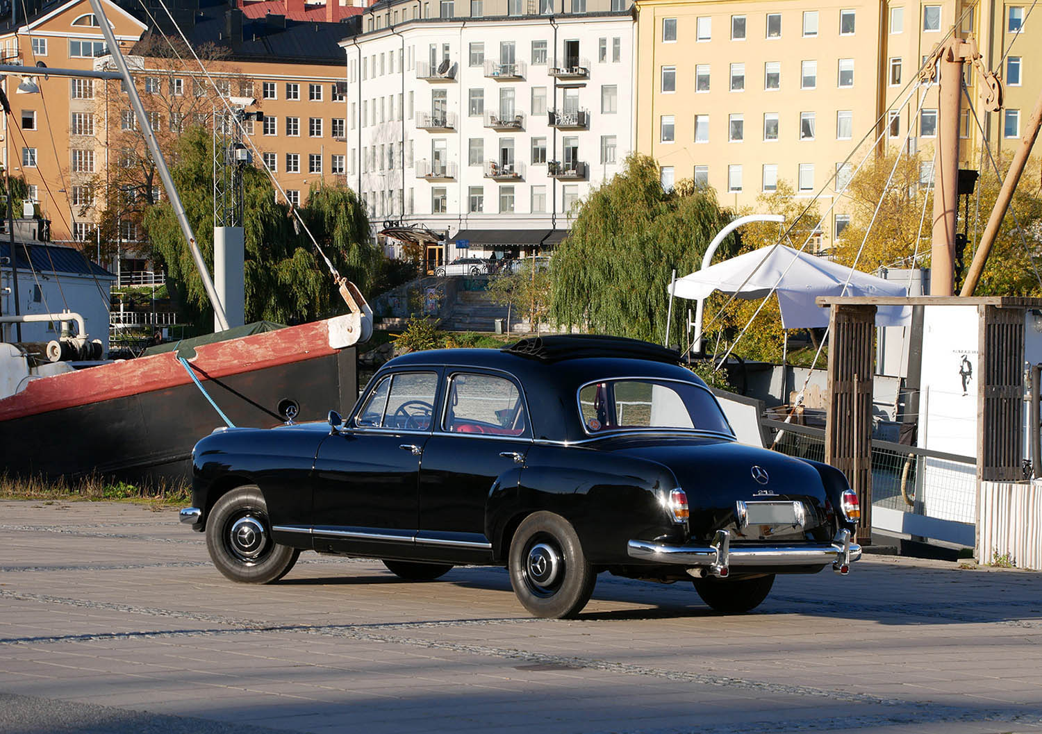 My newly restored Mercedes-Benz 219 -57 at Hornstull in Stockholm, Sweden